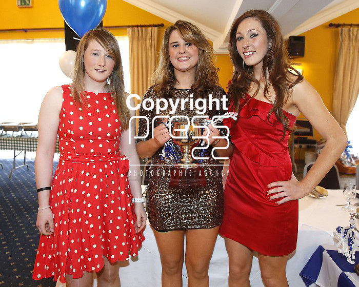 06/04/2013 Ailish Considine, Niamh Cahill and Eimear Considine pictured at a Camogie Pesentation Night which took place at the Magowna House Hotel, Kilmaley. Picture: Don Moloney / Press 22