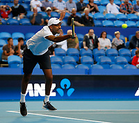 3rd January 2020; RAC Arena, Perth, Western Australia; ATP Cup Australia, Perth, Day 1,; USA v Norway Rajeev Ram of the USA plays a forehand shot during the doubles against team Norway - Editorial Use