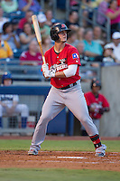 Frisco RoughRiders first baseman Trever Adams (18) at bat during the Texas League game against the Tulsa Drillers at ONEOK field on August 15, 2014 in Tulsa, Oklahoma  The RoughRiders defeated the Drillers 8-2.  (William Purnell/Four Seam Images)
