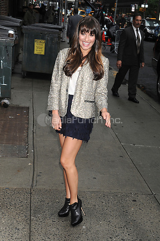Lea Michele at the Ed Sullivan Theater for an appearance on Late Show With David Latterman in New York Ciity. May 21, 2012. . Credit: Dennis Van Tine/MediaPunch