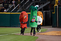 Post game race featuring the Atomic Wing, Celery, Blue Cheese, and Buffalo Wing after a Buffalo Bisons game against the Gwinnett Braves on August 19, 2017 at Coca-Cola Field in Buffalo, New York.  The Bisons wore special Superhero jerseys for Superhero Night.  Gwinnett defeated Buffalo 1-0.  (Mike Janes/Four Seam Images)