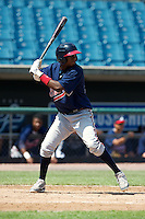 Wesley Jones #17 of Redan High School in Stone Mountain, Georgia playing for the Atlanta Braves scout team during the East Coast Pro Showcase at Alliance Bank Stadium on August 1, 2012 in Syracuse, New York.  (Mike Janes/Four Seam Images)