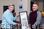 Mary Jo Curran presents an apppreciation award to Club Secretary Patrick Griffin in Rosspoint Bar & Restaurant for his work for Glenbeigh Falcons Basketball Club.