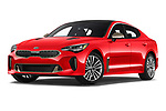 Stock pictures of low aggressive front three quarter view of a 2019 KIA Stinger GT 5 Door Hatchback