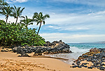 At secret cove beach in the morning. Secret Cove Beach is located on the southwest coast of Maui and is a favorite spot for wedding ceremonies.
