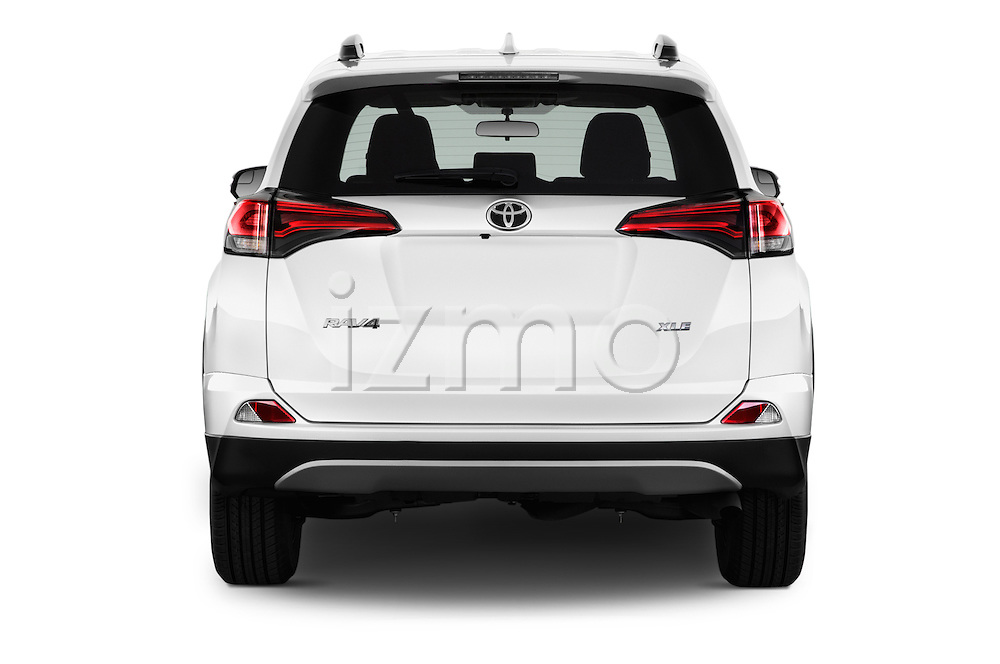 Straight rear view of 2016 Toyota RAV4 XLE 5 Door SUV Rear View  stock images