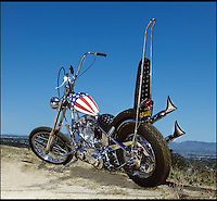 BNPS.co.uk (01202 558833)<br /> Pic: ProfilesInHistory/BNPS<br /> <br /> ***Please Use Full Byline***<br /> <br /> Easy Money....<br /> <br /> The legendary motorbike ridden by Hollywood star Peter Fonda in classic sixties film Easy Rider has become the most valuable in the world after selling for a staggering &pound;840,000 last night.<br /> <br /> The chrome-covered Harley Davidson chopper became an instant icon on the release of the 1969 cult classic, which starred Fonda and Dennis Hopper as freewheeling hippies on a voyage of discovery across America.<br /> <br /> The film is said to be responsible for kickstarting a trend in modern motorbiking inspired by the unmistakable bike ridden by Fonda's character Wyatt, known as Captain America.<br /> <br /> Sold at Los Angeles auction house Profiles In History on October 18.