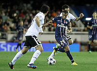 Valencia CF's Daniel Parejo (l) and Tino Costa (r) and Paris Saint-Germain's Lucas during Champions League 2012/2013 match.February 12,2013. (ALTERPHOTOS/Acero) /NortePhoto
