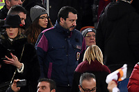 Interior Minister Matteo Salvini on the tribune ahead the Serie A 2018/2019 football match between AS Roma and AC Milan at stadio Olimpico, Roma, February 3, 2019 <br />  Foto Andrea Staccioli / Insidefoto