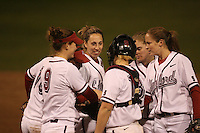 15 February 2008: Stanford Cardinal (not in order) Missy Penna, Michelle Smith, Maddy Coon, Shannon Koplitz, Melisa Koutz, and Rosey Neill during Stanford's 11-0 win against the Wichita State Shockers in the Stanford Invitational I at the Boyd and Jill Smith Family Stadium in Stanford, CA.