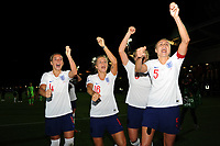 (L-R) Jordan Nobbs, Rachel Daly, Millie Bright and Steph Houghton of England Women celebrate at full time during the FIFA Women's World Cup Qualifier match between Wales and England at Rodney Parade on August 31, 2018 in Newport, Wales.