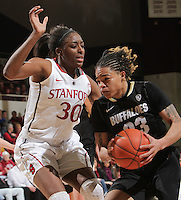 STANFORD, CA - February 23, 2012:  Nnemkadi Ogwumike plays tight defense during Stanford's 68-46 victory over Colorado in Stanford, California on February 23,  2012.