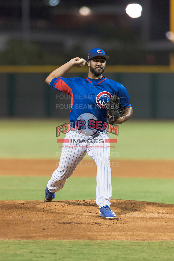 AZL Cubs 2 starting pitcher Emilio Ferrebus (43) delivers a pitch during an Arizona League game against the AZL Indians 2 at Sloan Park on August 2, 2018 in Mesa, Arizona. The AZL Indians 2 defeated the AZL Cubs 2 by a score of 9-8. (Zachary Lucy/Four Seam Images)