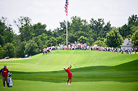 Jin Young Ko (KOR) hits her approach shot on 1 during Sunday's final round of the 72nd U.S. Women's Open Championship, at Trump National Golf Club, Bedminster, New Jersey. 7/16/2017.<br /> Picture: Golffile | Ken Murray<br /> <br /> <br /> All photo usage must carry mandatory copyright credit (&copy; Golffile | Ken Murray)