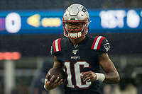 FOXBOROUGH, MA - OCTOBER 27: New England Patriots Wide Receiver Jakobi Meyers #16 during a game between Cleveland Browns and New Enlgand Patriots at Gillettes on October 27, 2019 in Foxborough, Massachusetts.