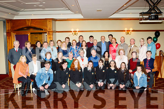 After 37yrs in total, Austin Ó Seachnasaigh, seated centre, retired as Principal of Gaelcholáiste Chiarraí, Moyderwell, Tralee last Friday night, in the Meadowlands hotel, Tralee, along with many friends, colleagues and musical students.