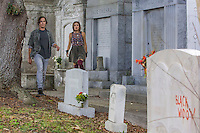 "Tyler Blackburn as Caleb and Nicole Gale Anderson as Miranda in ABC Family's ""Ravenswood""."