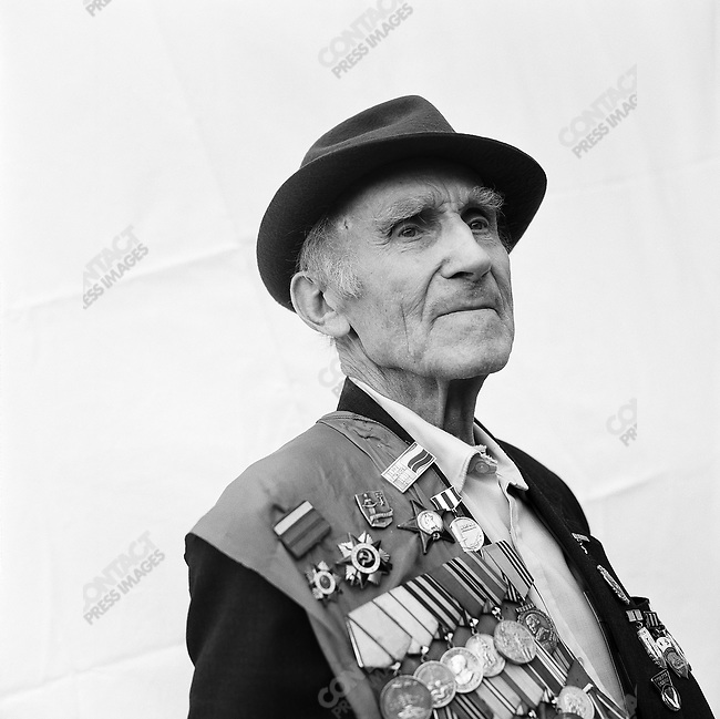 WWII veteran during Victory Day celebrations, Lev Aleksandrovich Ganusevich, b. 1920, Infantry. Moscow, Russia, May 9, 2009