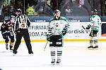 Stockholm 2014-03-27 Ishockey Kvalserien Djurg&aring;rdens IF - R&ouml;gle BK :  <br /> R&ouml;gles Daniel Zaar deppar<br /> (Foto: Kenta J&ouml;nsson) Nyckelord:  DIF Djurg&aring;rden R&ouml;gle RBK Hovet depp besviken besvikelse sorg ledsen deppig nedst&auml;md uppgiven sad disappointment disappointed dejected