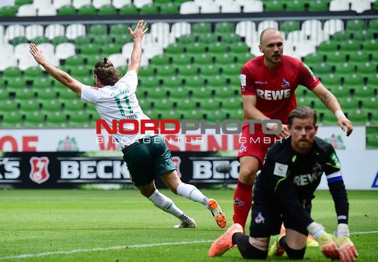 3:0 Tor, Jubel v.l. Torschuetze Niclas Fuellkrug (Bremen), Rafael Czichos, Torwart Timo Horn (Koeln)<br />Bremen, 27.06.2020, Fussball Bundesliga, SV Werder Bremen - 1. FC Koeln<br />Foto: VWitters/Witters/Pool//via gumzmedia/nordphoto<br /> DFL REGULATIONS PROHIBIT ANY USE OF PHOTOGRAPHS AS IMAGE SEQUENCES AND OR QUASI VIDEO<br />EDITORIAL USE ONLY<br />NATIONAL AND INTERNATIONAL NEWS AGENCIES OUT