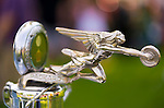 Old Westbury, New York, U.S. - June 1, 2014 -  CGoddess of Speed hood ornament with radiator gauge, on a 1928 Packard 443 limousine owned by MARIO IASPARO of CENTEREACH, is an entry at the Antique and Collectible Auto Show held on the historic grounds of elegant Old Westbury Gardens in Long Island, and sponsored by Greater New York Region AACA Antique Automobile Club of America.
