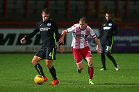 Uwe Hunemeier of Brighton and Alex Samuel of Stevenage during Stevenage vs Brighton & Hove Albion Under-21, Checkatrade Trophy Football at the Lamex Stadium on 7th November 2017