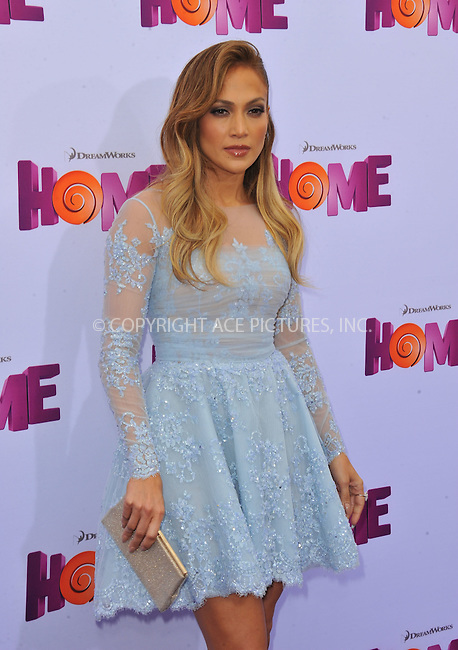 WWW.ACEPIXS.COM<br /> <br /> March 22 2015, LA<br /> <br /> Jennifer Lopez arriving at the 'HOME' Los Angeles Premiere at the Regency Village Theatre on March 22, 2015 in Westwood, California. <br /> <br /> By Line: Peter West/ACE Pictures<br /> <br /> <br /> ACE Pictures, Inc.<br /> tel: 646 769 0430<br /> Email: info@acepixs.com<br /> www.acepixs.com