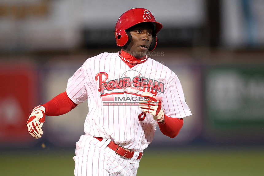 Reading Phillies outfielder Jiwan James #8 during a game against the New Hampshire Fisher Cats at FirstEnergy Stadium on April 10, 2012 in Reading, Pennsylvania.  New Hampshire defeated Reading 3-2.  (Mike Janes/Four Seam Images)