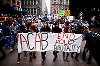 Occupy Wall Street members march against police brutality in New York, United States. 24/03/2012.  Photo by Eduardo Munoz Alvarez / VIEWpress.