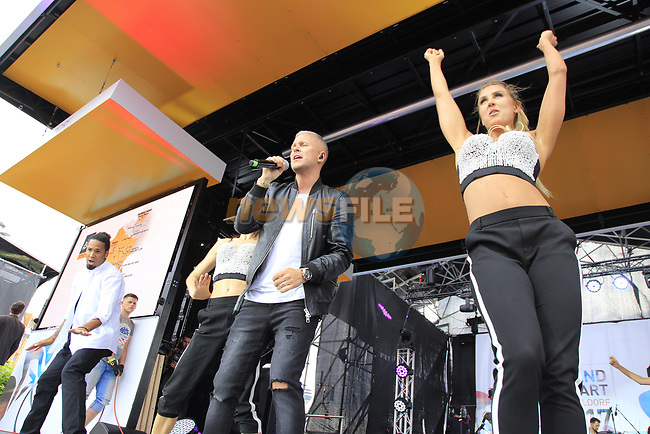 Entertainment on stage at the Team Presentation in Burgplatz Dusseldorf before the 104th edition of the Tour de France 2017, Dusseldorf, Germany. 29th June 2017.<br /> Picture: Eoin Clarke | Cyclefile<br /> <br /> <br /> All photos usage must carry mandatory copyright credit (&copy; Cyclefile | Eoin Clarke)