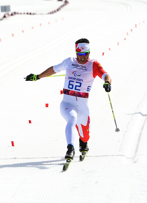10/03/2014. Canadian Brian Mckeever and guide Graham Nishikawa compete in the cross country mens 20km  Visually impaired event at the Sochi 2014 Paralympic Winter Games in Sochi Russia. Mckeever went on to win gold. (Photo Scott Grant/Canadian Paralympic Committee)