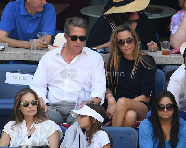 FLUSHING NY- SEPTEMBER 04: Hugh Grant seen watching Caroline Wozniacki Vs Madison Keys on Arthur Ashe Stadium at the USTA Billie Jean King National Tennis Center on September 4, 2016 in Flushing Queens. Credit: mpi04/MediaPunch