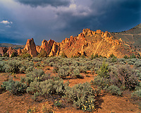 Sagebrush and rock pinnacles in Smith Rock State Park in Deschutes County, Oregon