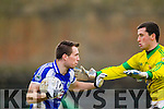 Templenoe's Cian Hallissey and Curraha's Liam Hogan in the AIB GAA Football All Ireland Junior Club Championship.
