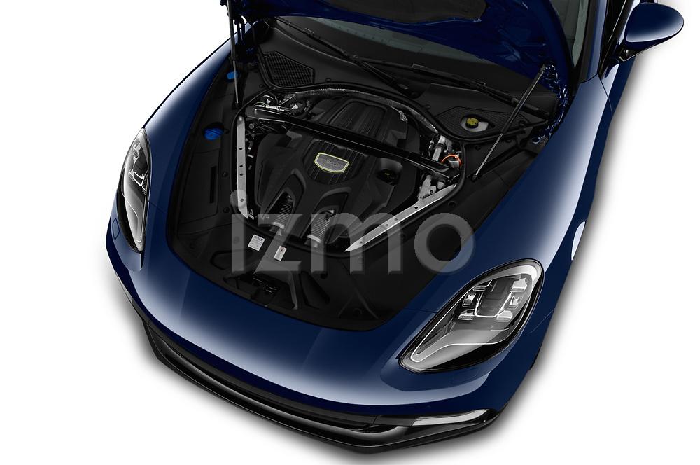 Car stock 2018 Porsche Panamera 4 E-Hybrid 5 Door Hatchback engine high angle detail view