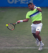 June 12th 2017,  Nottingham, England; WTA Aegon Nottingham Open Tennis Tournament day 3; 18 yr old Jay Clarke of Great Britain hits a forehand in his match against Yuki Bhambri of India