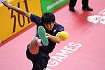 Hirokazu Kobayashi (JPN), <br /> AUGUST 24, 2018 - Sepak takroae : <br /> Men's Doubles Semi-final  match Thailand - Japan <br /> at Jakabaring Sport Center Ranau Hall <br /> during the 2018 Jakarta Palembang Asian Games <br /> in Palembang, Indonesia. <br /> (Photo by Yohei Osada/AFLO SPORT)