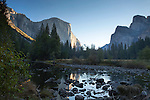 El Capitan in the morning sunlight, Yosemite Valley at sunrise, Yosemite National Park, California, USA