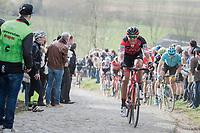 Dylan Teuns (BEL/BMC) up the Paterberg<br /> <br /> 72nd Dwars Door Vlaanderen (1.UWT)<br /> 1day race: Roeselare &rsaquo; Waregem BEL (203.4km)