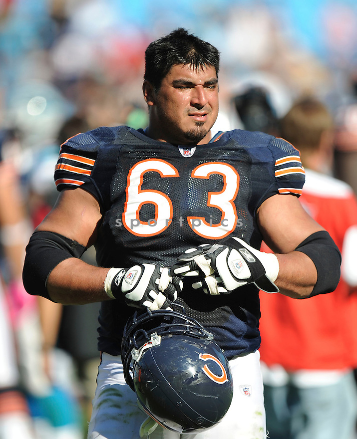ROBERTO GARZA, of the Chicago Bears, in action during the Bears game against the Carolina Panthers on October 10, 2010 at Bank of America Stadium in Charlotte, North Carolina...Chicago beats Carolina 23-6