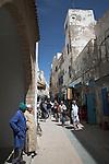 People in narrow alleyways of the medina, Essaouira, Morocco