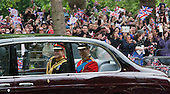 The Royal Wedding of HRH Prince William to Kate Middleton. Prince Harry and Prince William being driven to Westminster Abbey.