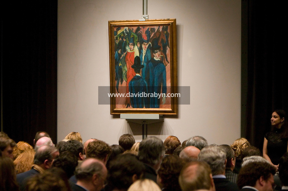 8 November 2006 - New York City, USA - Kirchner's Berliner Strassenszene stands on display during an Impressionist and Modern Art Sale at Christie's in New York City, NY, which realized $491,472,000 and nine new world auction records, 8 November 2006. Photo Credit: David Brabyn/Sipa Press<br />