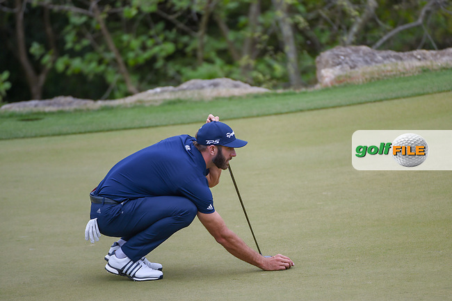 Dustin Johnson (USA) lines up his putt on 2 during day 3 of the WGC Dell Match Play, at the Austin Country Club, Austin, Texas, USA. 3/29/2019.<br /> Picture: Golffile | Ken Murray<br /> <br /> <br /> All photo usage must carry mandatory copyright credit (© Golffile | Ken Murray)