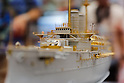 A replica of the Japanese battleship Mikasa on display at the 56th All Japan Model & Hobby Show in Tokyo Big Sight on September 25, 2016. The exhibition introduced hobby goods such as plastic models, action figures, drones, and airsoft guns. (Photo by Rodrigo Reyes Marin/AFLO)