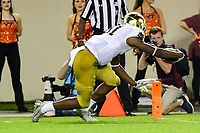 Blacksburg, VA - OCT 6, 2018: Notre Dame Fighting Irish wide receiver Miles Boykin (81) reaches the ball across the pylon for a touchdown during game between Notre Dame and Virginia Tech at Lane Stadium/Worsham Field Blacksburg, VA. (Photo by Phil Peters/Media Images International)