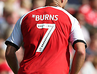 The Mind squiggle on the shirt of Fleetwood Town's Wes Burns<br /> <br /> Photographer Stephen White/CameraSport<br /> <br /> The EFL Sky Bet League One - Fleetwood Town v AFC Wimbledon - Saturday 4th August 2018 - Highbury Stadium - Fleetwood<br /> <br /> World Copyright &copy; 2018 CameraSport. All rights reserved. 43 Linden Ave. Countesthorpe. Leicester. England. LE8 5PG - Tel: +44 (0) 116 277 4147 - admin@camerasport.com - www.camerasport.com