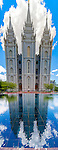 A three photo vertical panorama of the Mormon Salt Lake Temple and its reflection in a nearby poo..