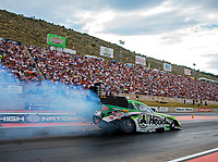 Jul 20, 2018; Morrison, CO, USA; NHRA funny car driver Jonnie Lindberg during qualifying for the Mile High Nationals at Bandimere Speedway. Mandatory Credit: Mark J. Rebilas-USA TODAY Sports