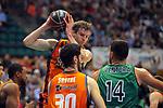 League ACB-ENDESA 2017/2018. Game: 30.<br /> Divina Seguros Joventut vs Valencia Baket Club: 77-75.<br /> Aaron Doomekamp, Joan Sastre &amp; Albert Ventura.